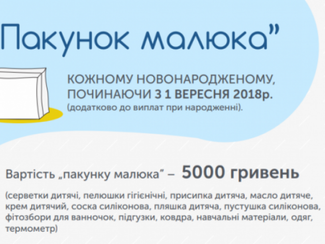 Вартість «Пакунку малюка» складає 5 тисяч гривень
