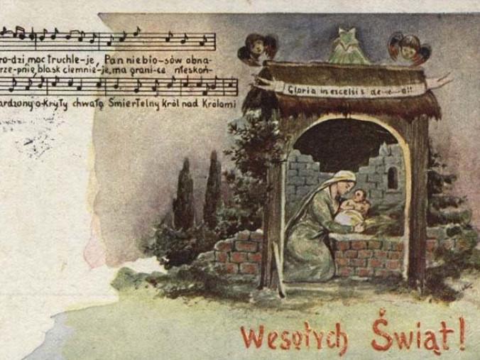 Стара польська листівка з текстом і нотами різдвяної колядки