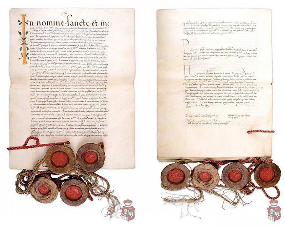 Краківський трактат 1525 року, авторства польського короля Сигізмунда Старого, з Бібліотеки Тадеуша Чацького в Порицьку
