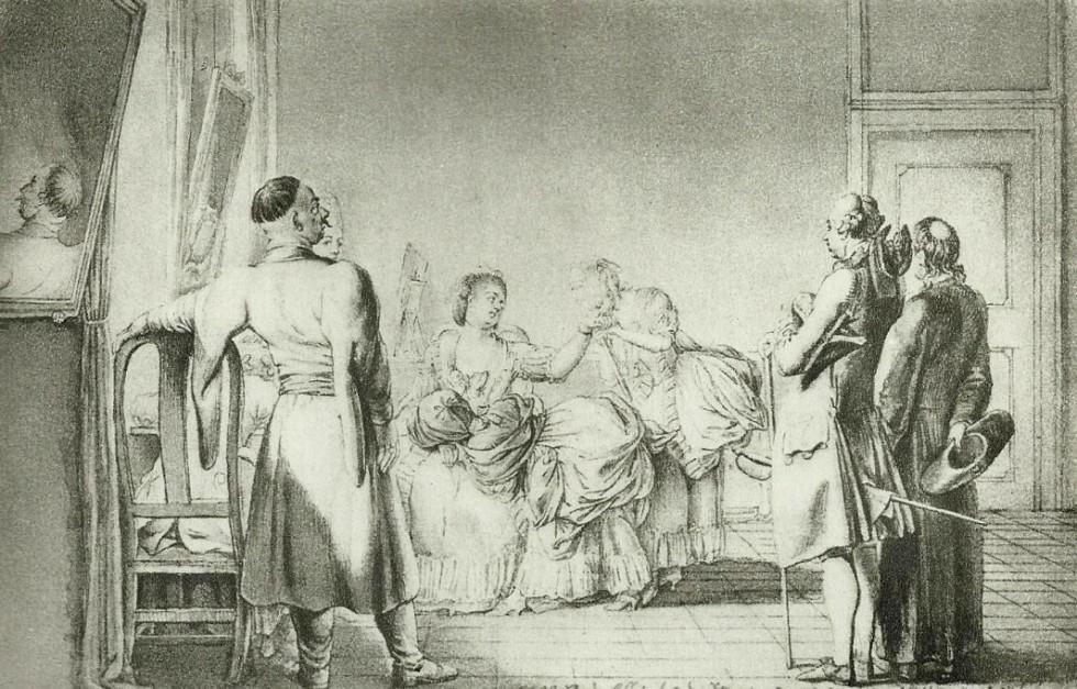 Кунегунда Сангушко Чацька з представниками родів Ледуховських та чоловіком Францішеком Чацьким, 1773