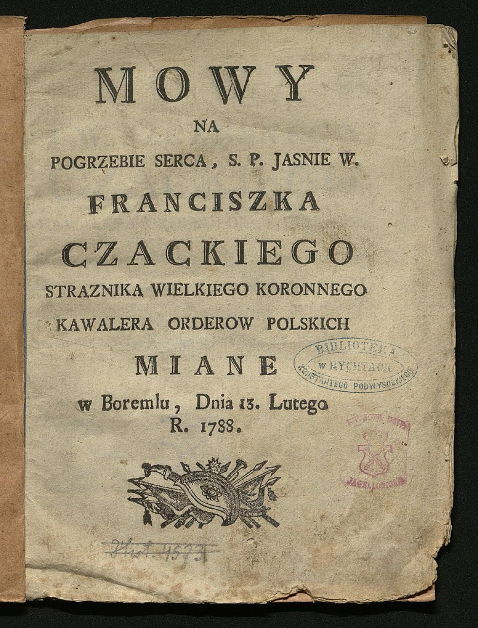 Промова на похоронах Францішека Чацького, Боремель, 1788